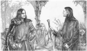 Boromir y Aragorn en el Concilio de Elrond, según Catherine Karina Chmiel
