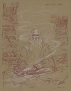 Gandalf lee el pergamino de Isildur, según Donato Giancola