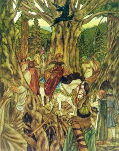 Thranduil se encuentra con los mensajeros de Bardo, según Michael Hague
