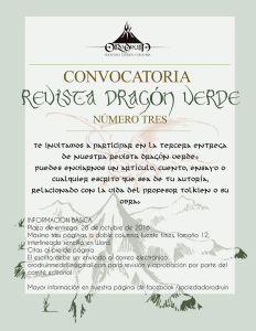 Convocatoria revista Dragón Verde de la Sociedad Tolkien Colombia Orodruin