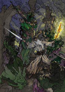 Gandalf se enfrenta a los Nazgûl en la Cima de los Vientos, según Theodore Edward Matthews