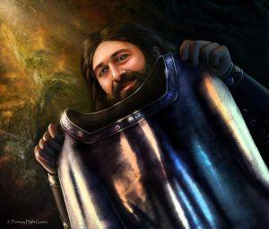 Thorin con la cota de malla de mithril, según Tiziano Baracchi