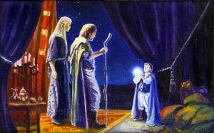 Bilbo entrega la Piedra del Arca a Thranduil y Bardo, según el artista estadounidense Jef Murray