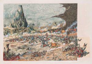 Batalla de los Cinco ejércitos, según el artista inglés John Blanche
