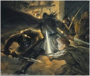 Un orco ataca a Frodo en la Cámara de Mazarbul, según John Howe