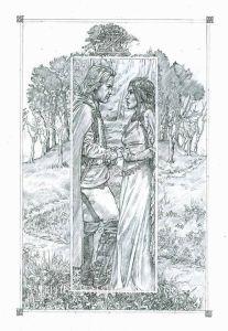 Aragorn y Arwen en Cerin Amroth, según Stephen Graham Walsh