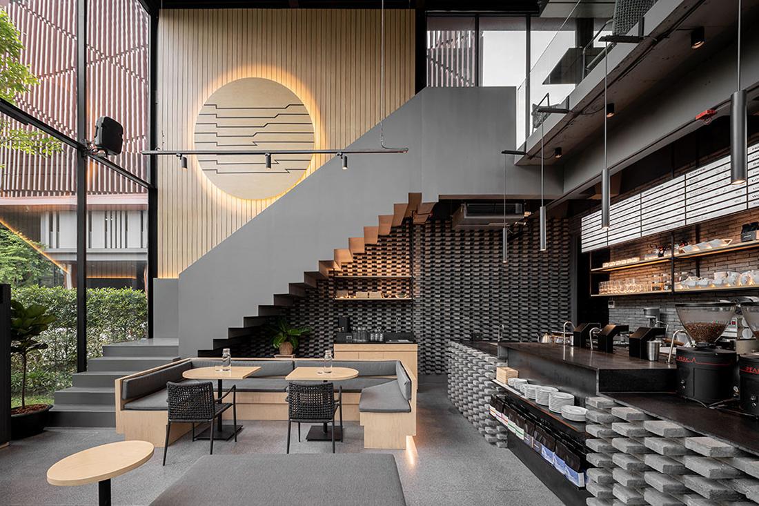 desain kafe modern minimalis jendela besar