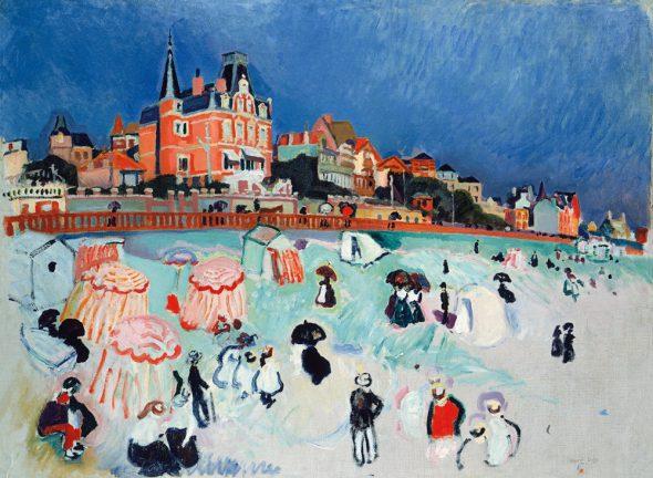 La playa de Sainte-Adresse, 1906. Óleo sobre lienzo. 76 x 97 cm. Arp Museum Bahnhof Rolandseck / Sammlung Rau für UNICEF, Remagen.  © Raoul Dufy, VEGAP, Madrid, 2015.