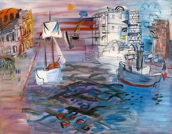 Puerto con velero. Homenaje a Claudio de Lorena, 1935. Óleo sobre lienzo. 89 x 113 cm. Musée d'Art Moderne de la Ville de Paris, París. © Raoul Dufy, VEGAP, Madrid, 2015.