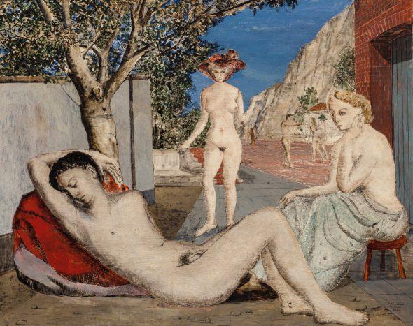 Paul Delvaux El sueño, 1944 (Le Rêve) Tinta china y óleo. 65 x 81 cm Colección privada en depósito en el Musée d'Ixelles, Bruselas.