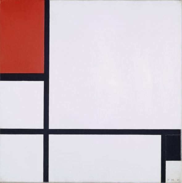 Piet Mondrian (1872–1944); Composition no. I, avec rouge et noir; 1929.  Kunstmuseum Basel, donación de Marguerite Arp-Hagenbach.