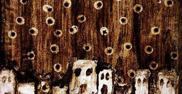 Una de las piezas que pintó (con posos de café) el artista sirio-palestino Anas Salamah durante los bombardeos del régimen de Asad que el mismo presenció en su barrio natal, Yamourk. Finalmente, Salamah abandonó el país y desde entonces sólo pinta en blanco y negro. Foto: Syria Untold.