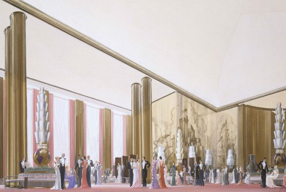 ROGER-HENRI EXPERT y RICHARD VAN DER BOIJEN. Transatlántico Normandie. Grand Salon  1933-34