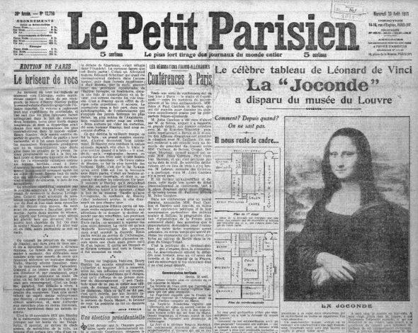Portada de Le Petit Parisien que informa del robo de La Gioconda.