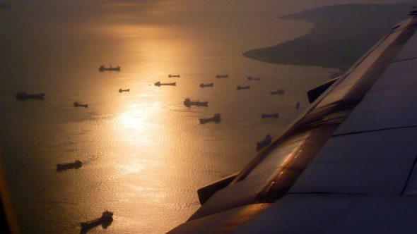 Atardecer desde un avión del puerto de Estambul. Foto: J.Barandica/