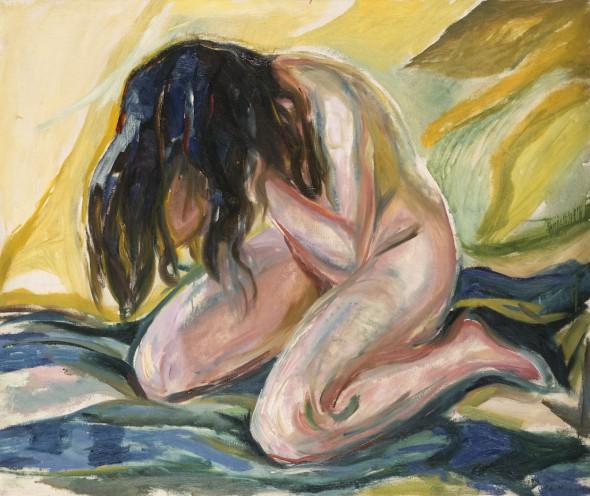 Edvard Munch. 'Desnudo femenino de rodillas', 1919. Houston, Texas, Sarah Campbell Blaffer Foundation. Munch Museum.