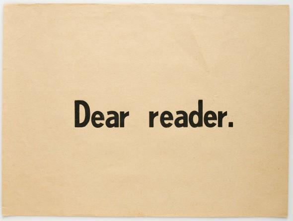 Ulises Carrión. 'Querido lector, 1975. Impresión sobre papel. Colección particular.