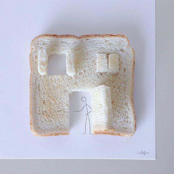 Monigote y el pan de molde.