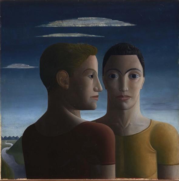 Luis Castellanos. 'Los atletas, 1940'. Óleo sobre tabla. Museo Nacional Centro de Arte Reina Sofía.