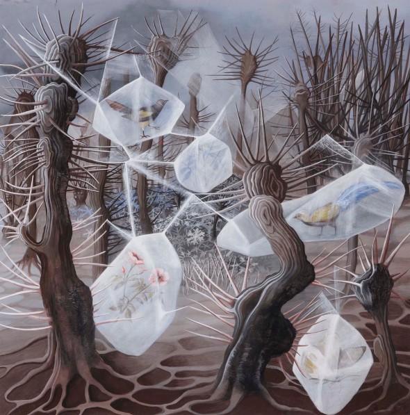 Remedios Varo. 'Alegoría del Invierno'. Guache sobre papel. Museo Nacional Centro de Arte Reina Sofía.