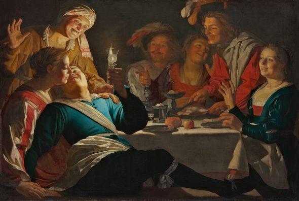 Gerard van Honthorst Utrecht, 1592-1656 Alegre compañía, 1622 Merry Company Óleo sobre lienzo. 132,8 x 196,5 cm Múnich, Bayerische Staatsgemäldesammlungen, Alte Pinakothek