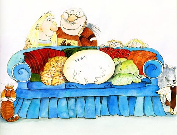 Una ilustración del libro 'Mamá puso un huevo'.