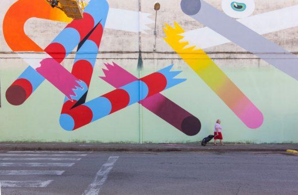 Obra de Nano en Milestone Project de Girona. Foto:
