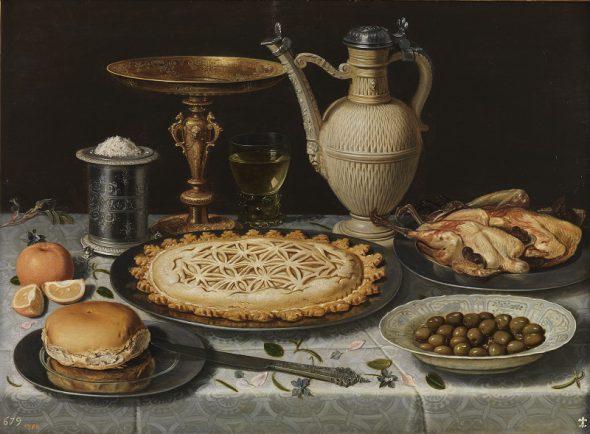 Mesa con mantel, salero, taza dorada, pastel, jarra, plato de porcelana con aceitunas y aves asadas Clara Peeters Óleo sobre tabla, 55 x 73 cm c. 1611 Madrid, Museo Nacional del Prado