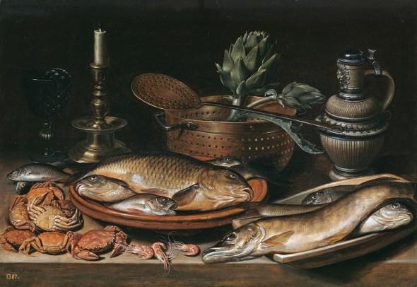 Bodegón con pescado, vela, alcachofas, cangrejos y gambas Clara Peeters Óleo sobre tabla, 50 x 72 cm 1611 Madrid, Museo
