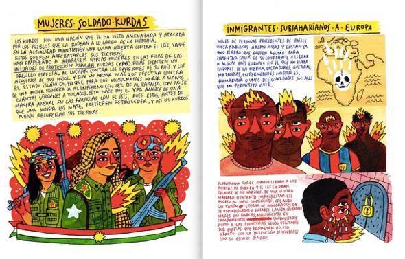 Las mujeres soldados kurdas son uno de los personajes del nuevo libro ilustrado por Ricardo Cavolo.