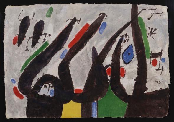 Joan Miró. Homme, femme et oiseaux dans la nuit 11 septiembre 1970