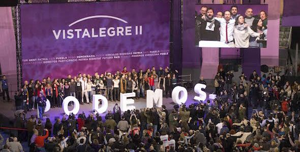 Un momento del congreso de Podemos con Iglesias y Errejón en Vistalegre este fin de semana. Foto: Liliana Peligro.