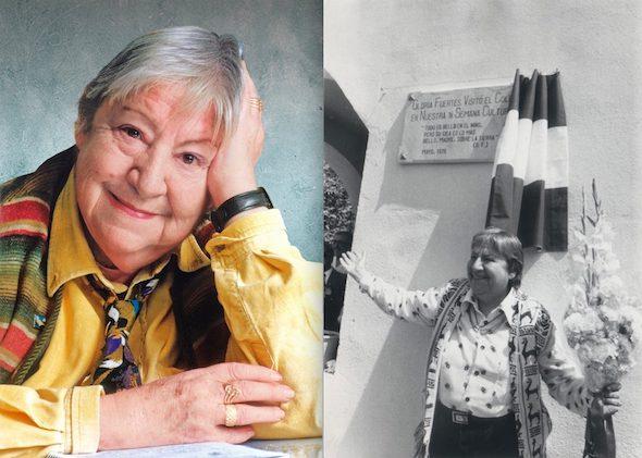 Dos momentos en la vida de la escritora Gloria Fuertes recogidos en la exposición en Madrid.