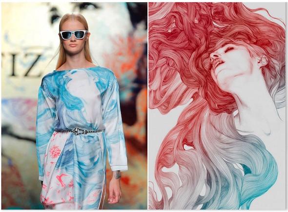 6) Este fue un trabajo muy bonito que me hizo salir de los típicos proyectos publicitarios o editoriales y conocer el mundo de la moda. Estampados para la colección de Ion Fiz para la Fashion Week.