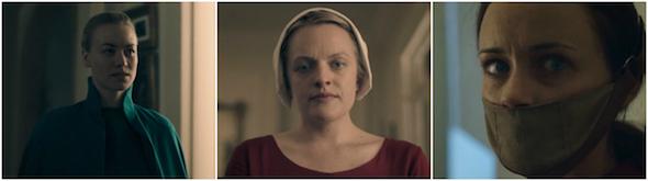 """Actrices protagonistas de la serie """"El cuento de la criada"""", de izquierda a derecha: Yvonne Strahovski, Elizabeth Moss, Alexis Bledel"""