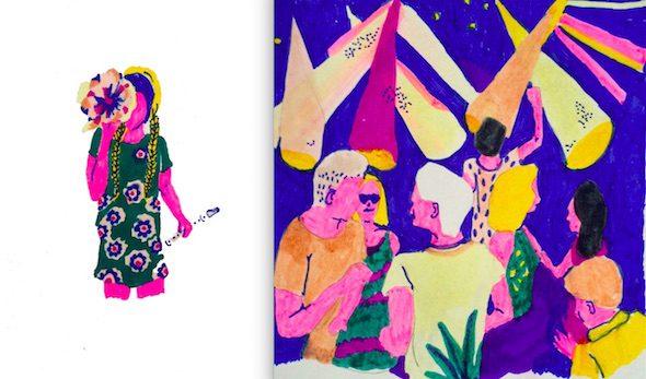 Ilustraciones de Miki Lowe para la novela 'Corazón de robot' de Andrés Rubio y Use la Hoz.