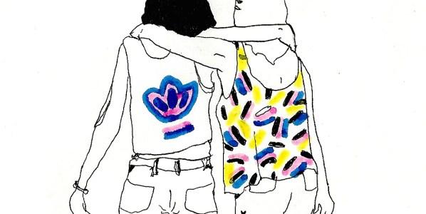 Amigas antes de la fiesta de pijamas en la novela 'Corazón de robot' ilustrada por Miki Lowe.