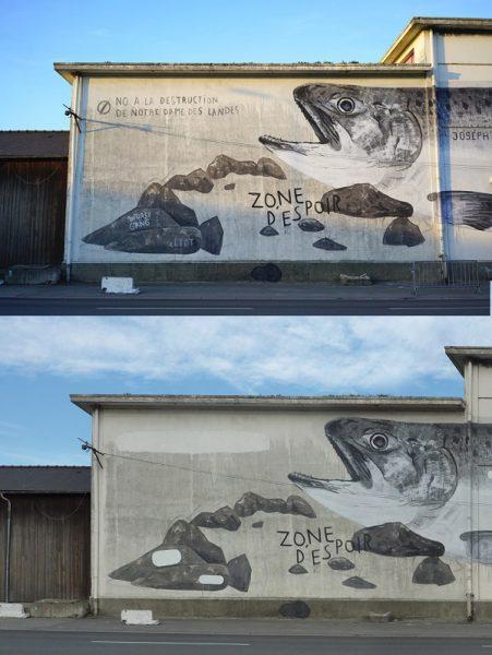 Detalles de la obra de Escif en la bretaña francesa antes y después de la censura.