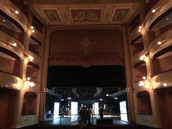 Subida al escenario del Teatro Municipal de Girona donde se desarrolla el espectáculo 'A floresta que anda'. Foto: M. Cuéllar.