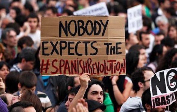 Una de las manifestaciones del 15M.