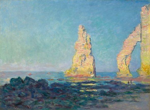 Claude Monet La Aguja d'Étretat, marea baja, 1883 (Aiguille d'Étretat, marée basse) (The Needle Rock at Étretat, Low Tide) Óleo sobre lienzo. 60 x 81 cm Colección privada, Nueva York