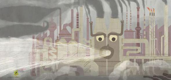 Rana de tres ojos en la fábrica de hacer cosas.