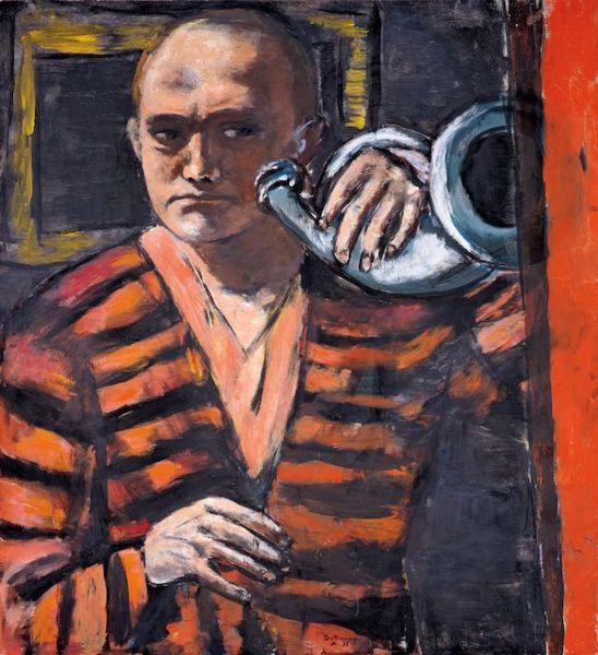 Max Beckmann. Autorretrato con corneta, 1938. (Selbstbildnis mit Trompete). Neue Galerie, Nueva York, y colección privada.