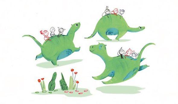 Una ilustración del libro 'Adoptar un dinosaurio'.