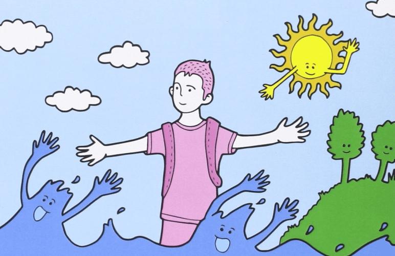 Ilustración de portada de 'Si el rosa es de niñas el azul es del mar' de Sanz i Vila.