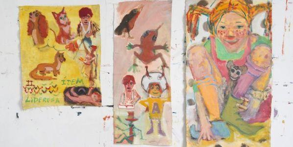 Óleos de Armando Seijo para el texto de Ruth Toledano en la exposición Armándola en la galería Mad is Mad.