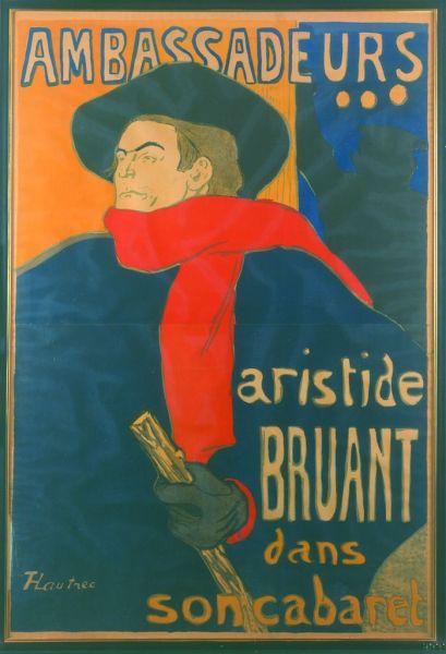 Henri de Toulouse-Lautrec (1864-1901), Ambassadeurs: Aristide Bruant, 1892. Colección particular, cortesía Galerie Documents, París.