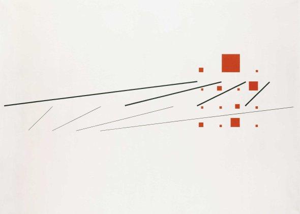 Construcción simultánea de dos sistemas progresivos , 1946.  Max Bill. Colección particular. Cortesía de Annely Juda Fine Art.
