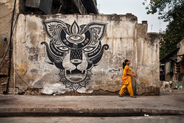 Un muro en India dibujado por Boa Mistura.