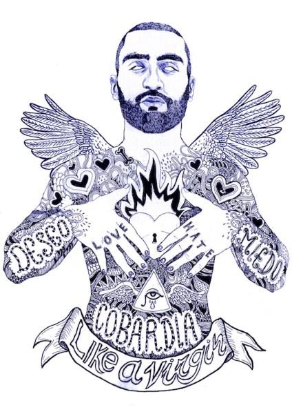 Ángel, dibujo a tinta de El Dios de los Tres.